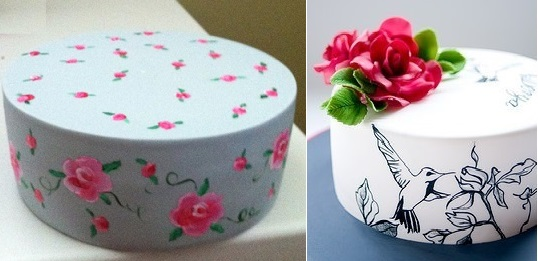 hand painted cakes by Viva La Cake left and Sweet Tiers right