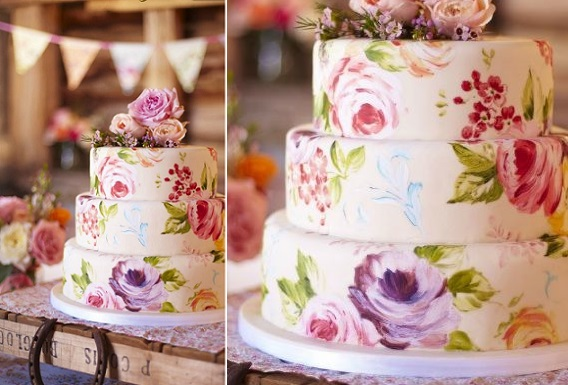 hand painted wedding cake via Mari Kitsak on Pinterest
