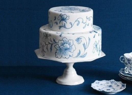 hand painted wedding cake vintage blue floral by Cheryl Kleinman of The Betty Bakery New York