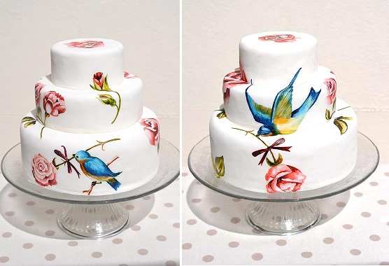 hand painted wedding cake with roses and bird design by Murray Me Cakes
