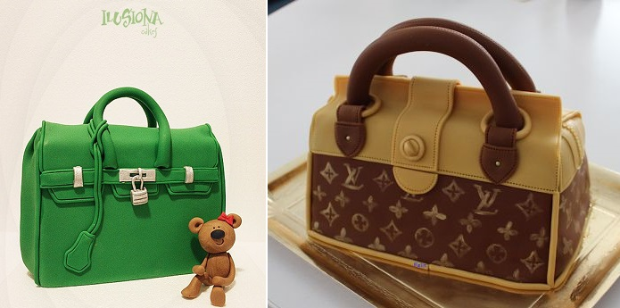 handbag cake by Ilusiona Cakes left and Louis Vuitton handbag cake by DumirtuFelicia blog