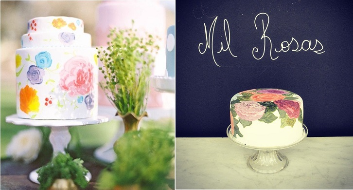handpainted watercolour wedding cake, photo by Cocotran Photography and right, Edelweiss de Lara Soldano