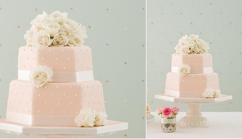 hexagonal wedding cake with polka dots by Pat A Cake, Lizze Orme Photography