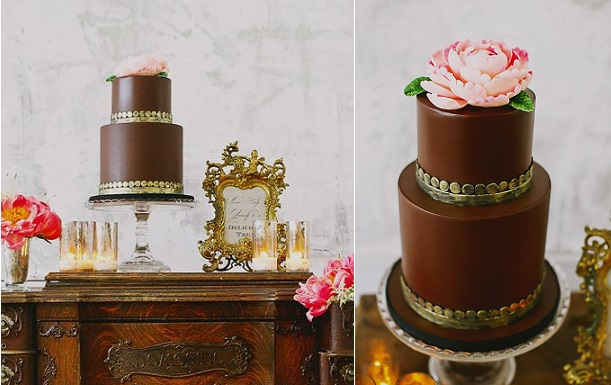 milk chocolate wedding cake with gold trim and peony rose by The Whole Cake, Tinywater Photography via Ruffled (2)