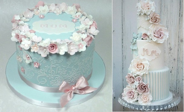 mother's day cakes by Fancy Cakes by Linda left and by Cotton and Crumbs right