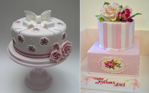 mother's day cakes by Scrum Diddly left and by Sweet Ruby Cakes right