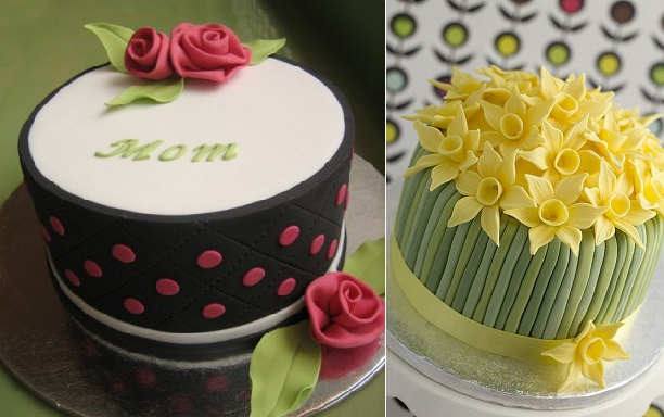 mother's day cakes by The Betty Bakery left and by Juliet Stallwood Cakes and Biscuits right