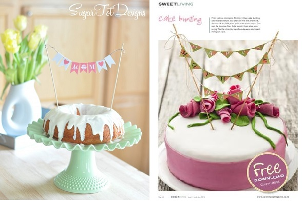 mother's day cakes from Sugar Tot Designs left and Sweet Living Magazine right