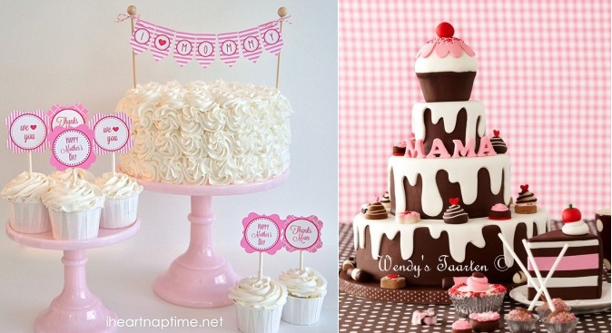 mother's day chocolate cake right by Wendy's Taarten NL and mother's day printables from I Heart Nap Time left