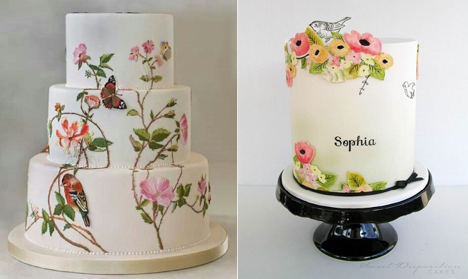 multi dimensional cake decorating by Krikri Creazioni left and by Sweet Dispostion Cakes right