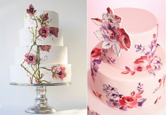 multi dimensional cake decorating by maggie austin left and by Nevie Pie Cakes right