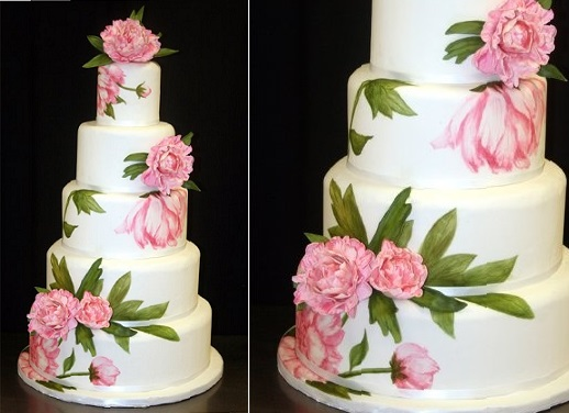 multi dimensional cake decorating peony wedding cake by Atlanta Cakes