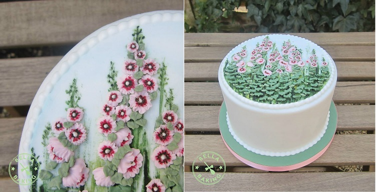 multi dimensional cake decorating with english cottage garden hollyhocks by Bella Baking