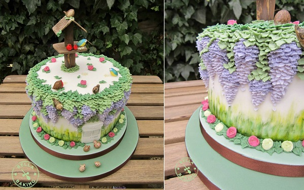 mulit dimensional cake decorating wisteria cottage garden cake with birdhouse by Bella Baking UK