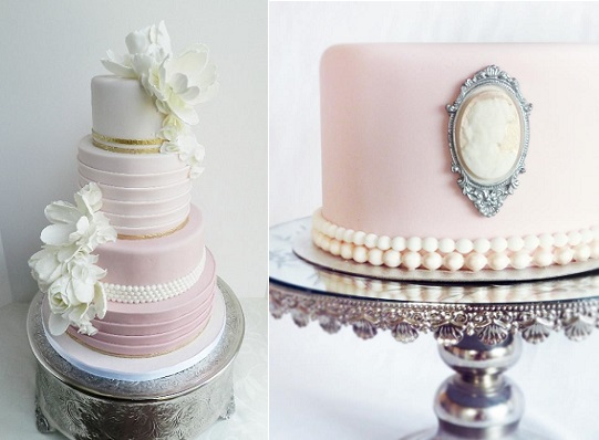 pearl beaded wedding cake pleated wedding cake by the Cake Whisperer left and pearl beaded cake with cameo by Mina Magaiska Bakverk right