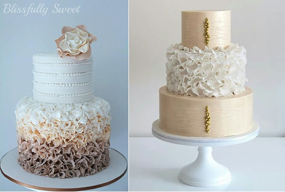 petal ruffle wedding cake ombre beige by Blissfully Sweet Cakes left and image right via Tumblr