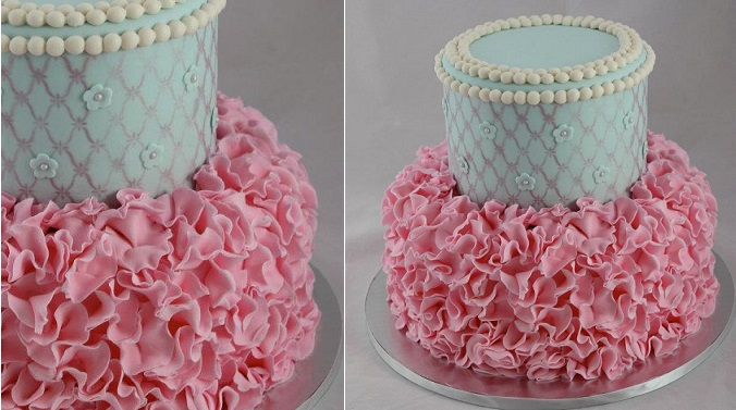 petal ruffles cake vintage blue and pink by Sweet on You Cakes