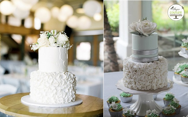 petal ruffles wedding cakes image left by Bentinmarcs Photography via Style Me Pretty, cake right by Sugar Couture Cupcakes and Cakes