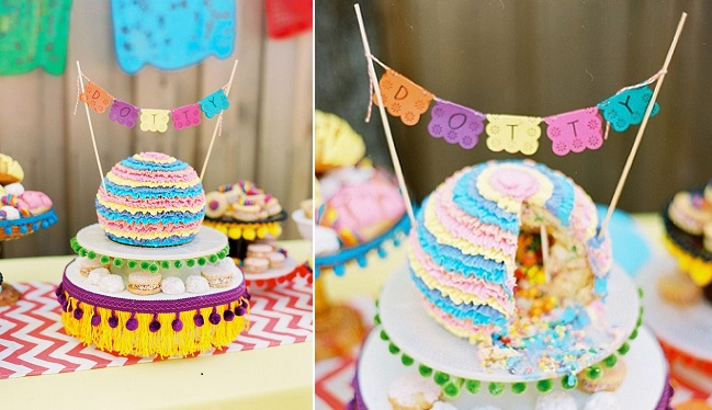 pinata cake surprise inside by Cakewalk Bake Shop via 100 Layer Cakelet, Ben Q Photography