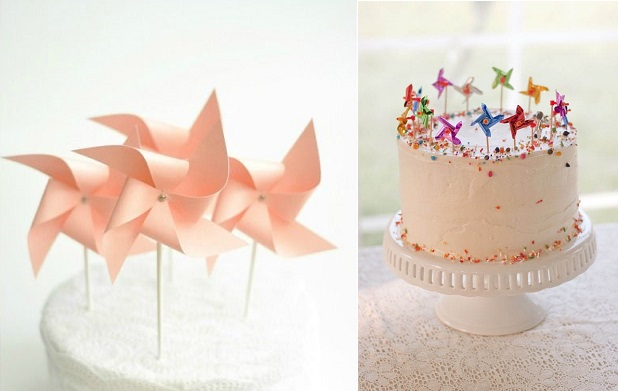 pinwheel cake toppers via craftaholics anonymous.net left and via Rock N Roll Bride right