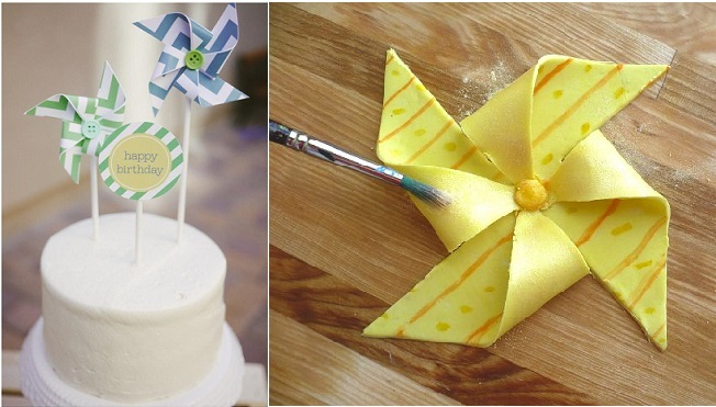 pinwheel cake tutorial from Clockwork Lemon right and pinwheel cake toppers via Pretty Little Events left