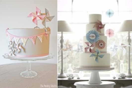 pinwheel cakes from The Pastry Studio left and The Cake Parlour right