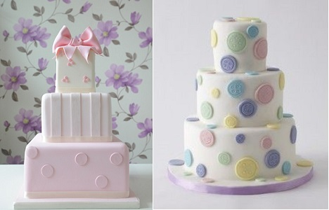 polka dot cakes by Jolly Good Pud left and Lulu Cake Boutique right