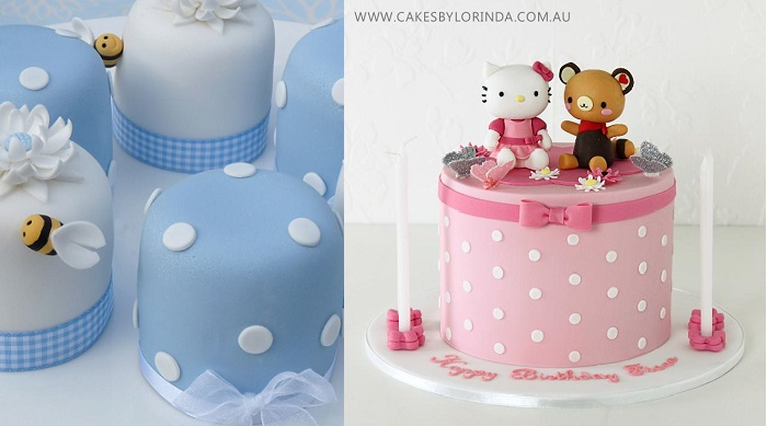 polka dot cakes by Rachelle's Cakes UK left and Cakes by Lorinda right