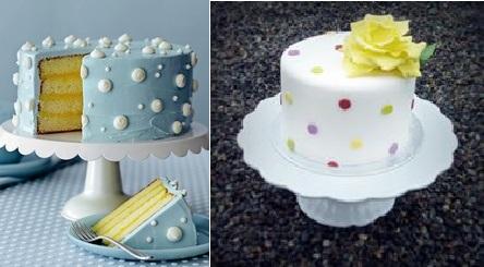polka dot cakes via countryliving.com left and by Mina Magiska Bakverk, Sweden right