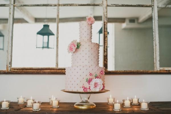polka dot wedding cake by Nutmeg & Co., Sarah McKenzie Photography