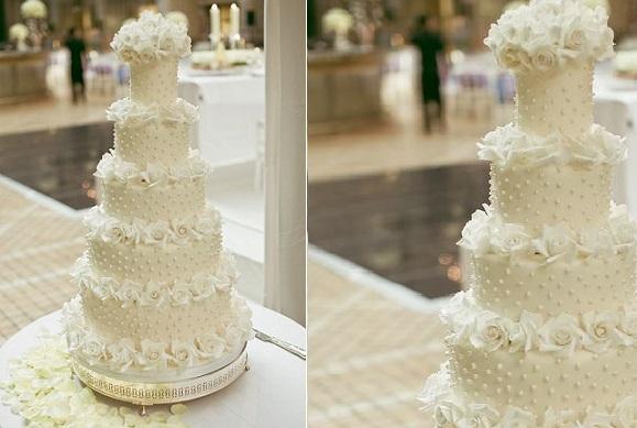 polka dot wedding cake ivory by Elizabeth's Cake Emporium