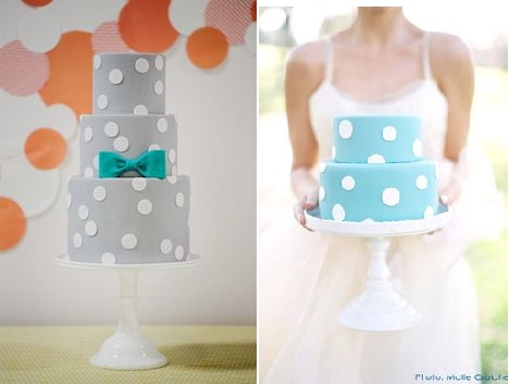polka dot wedding cakes by Sweet and Saucy, Jasmine Star Photography left and Superfine Bakery right Mollie Crutche Photography