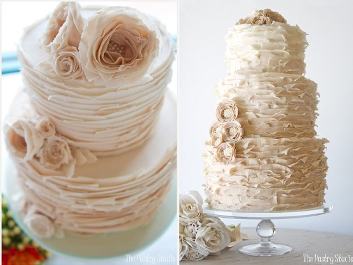 ruffle wedding cake pearl ombre cake with peeling layers effect from The Pastry Studio
