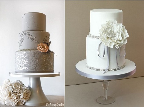 silver anniversary cake ideas from The Pastry Studio left and by Pasteles Alma right