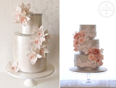silver anniversary cake ideas from Yummy Cupcakes and Cakes left and from Sweet Love Cake Design right
