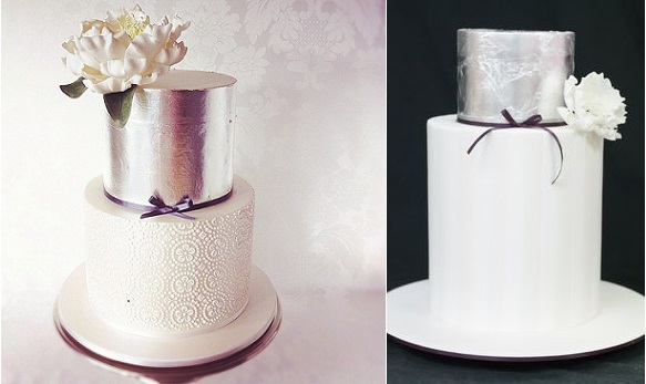 silver-anniversary-cakes-by-Hello-Naomi-Cakes-left-and-by-Yummy-Cupcakes-and-Cakes-right