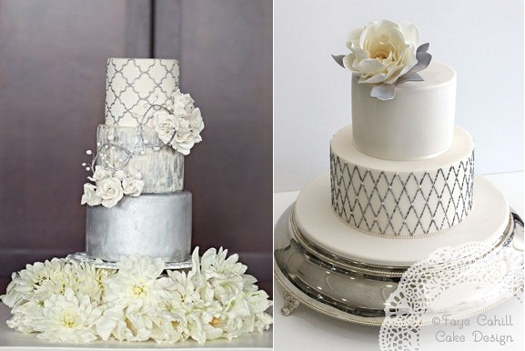 silver wedding anniversary cake by Faye Cahill Cake Design right and quatrefoil cake design via Pinterest left