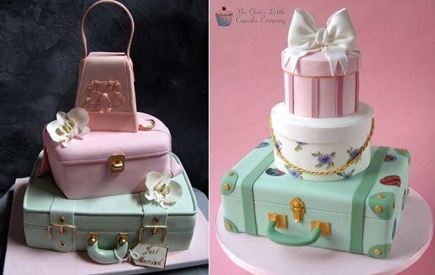 suitcase cakes vintage luggage cakes by Sweetest Couture Sugar Delites Jennifer Dontz left and by The Clever Little Cupcake Company right