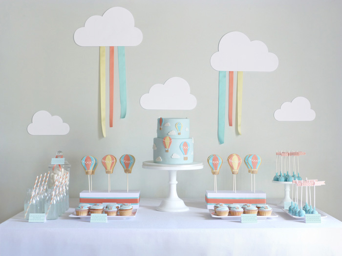 sweet table decor with cloud backdrop hot air balloon party by Amy Atlas