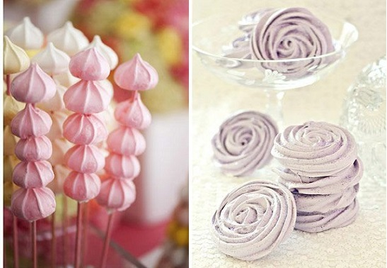 sweet table ideas chinese lantern meringues and lavender meringue rosettes via Pinterest