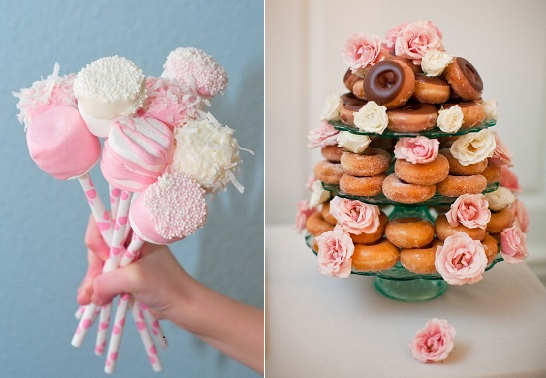 sweet table ideas marshmallow pops via foodideasrecipes .com left and donut display by Elizabeth Anne Designs