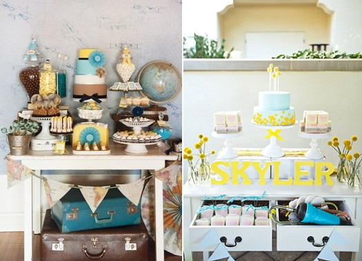 sweet table travel theme wedding via Amy Atlas left and sweet table lemon and blue right by Pretty Little Events