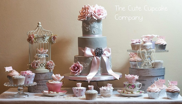 sweet table wedding dessert table vintage style by The Cute Cupcake  Company