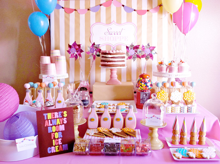 sweet table vintage sweet shop candyland theme via Kara's Party Ideas