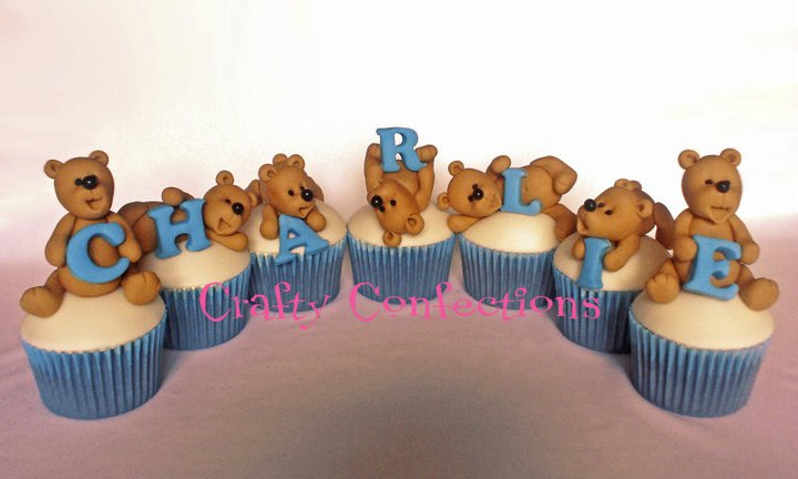 teddy cupcakes for christening or naming day by Crafty Confections Ireland