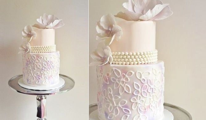 vintage pearl beaded wedding cake watercolour wedding cake by the Cake Whisperer