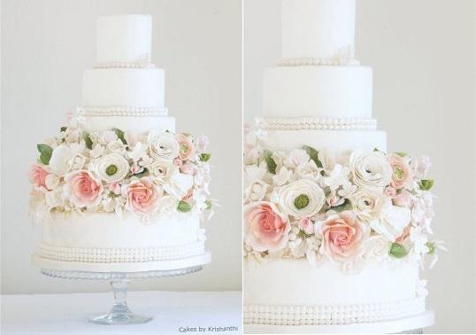vintage pearl wedding cake by Cakes by Krishanthi