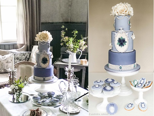 vintage pearl wedding cake in blue with hand painted cameo by Pasteles Alma