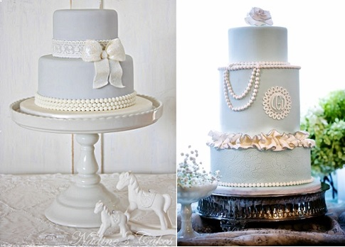 pearl wedding cakes in blue by Nadine's Cakes left and One Gateau right