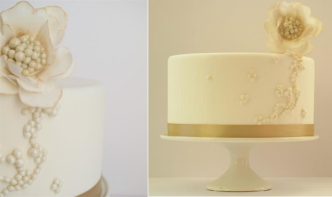 beaded cake design with gold accent by Maggie Austin Cake